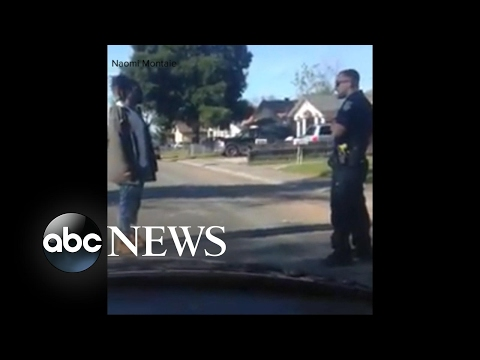A disturbing confrontation between a Sacramento police officer and a man accused of jaywalking
