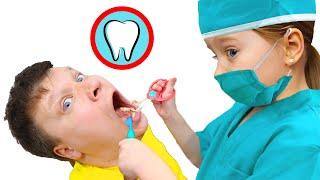 Милана и папа собрались лечить зубы