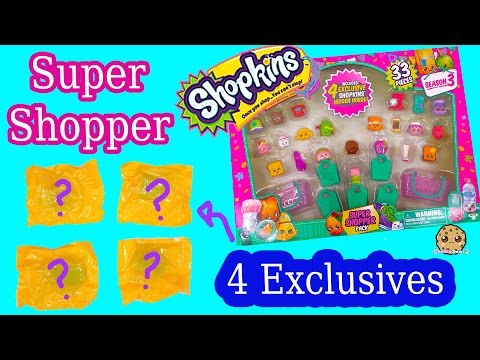 Shopkins Season 3 SUPER SHOPPER 33 Pieces Set with 4 EXCLUSIVE BLIND BAGS - Cookieswirlc Video