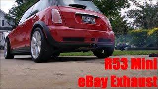 homepage tile video photo for R53 Mini Cooper S eBay Exhaust Review