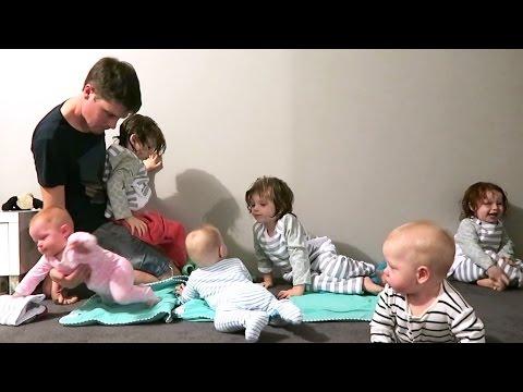 SUPER DAD VS. SIX BABIES AT BEDTIME!
