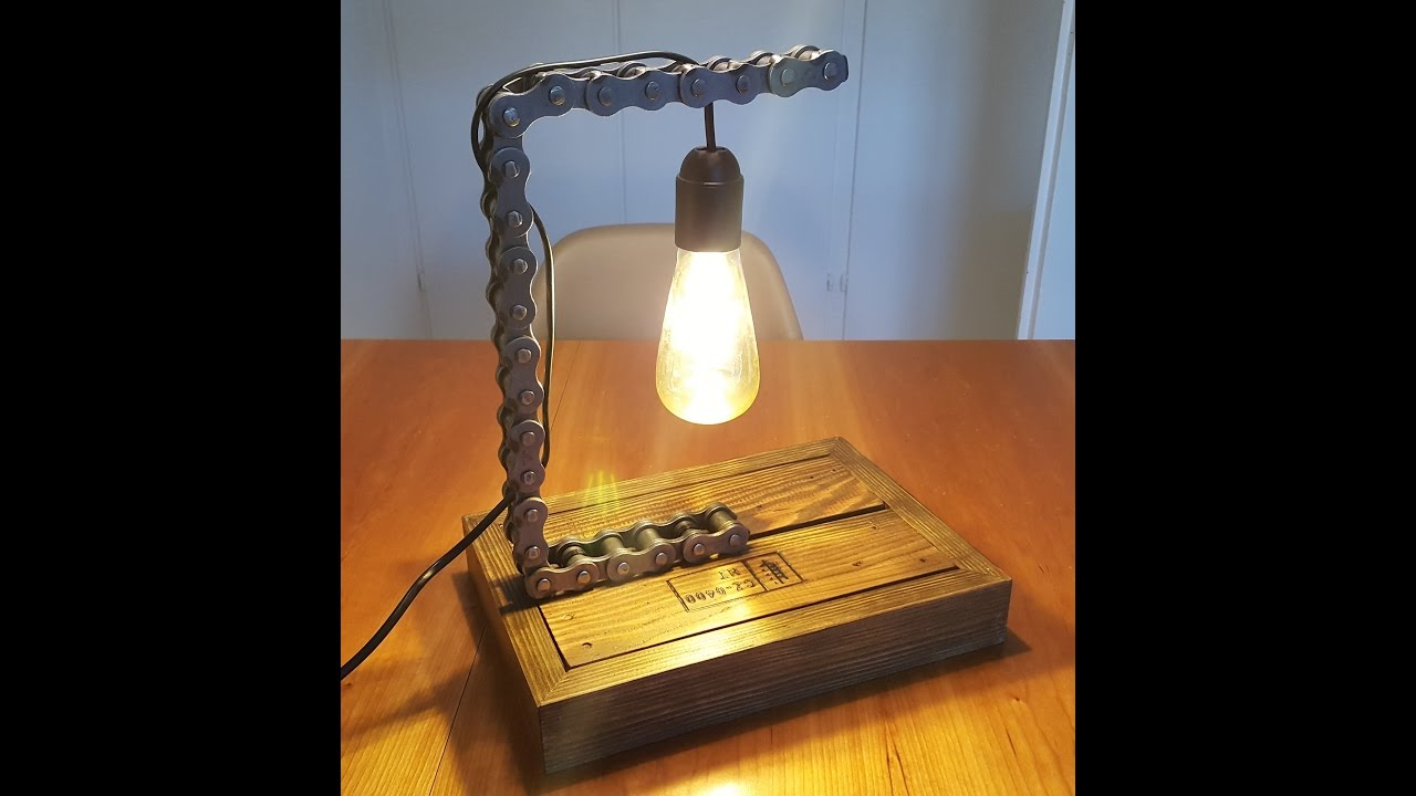 Diy industrial chain lamp youtube for How to make an industrial lamp