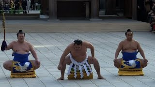 In the Meiji Sanctuary in Tokyo, three Yokozuna (the highest rank i...