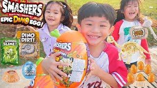 Smashers恐龍蛋儿童户外探險尋找驚喜蛋宝箱!Smashers爆裂蛋桌面玩具開箱!TuTu channel
