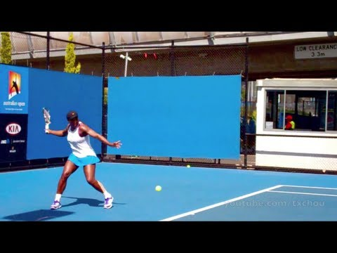 Serena Williams - Australian Open 2012 Practice Courts - Forehands in Slow Motion
