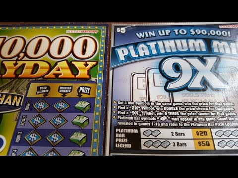 $10000 PAYDAY & PLATINUM MINE Indiana Lottery Scratch Offs