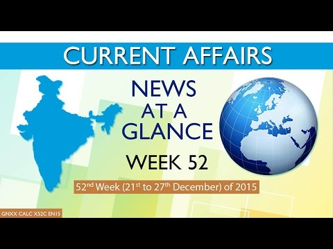 Current Affairs News at a Glance 52nd Week (21st Dec to 27th Dec) of 2015