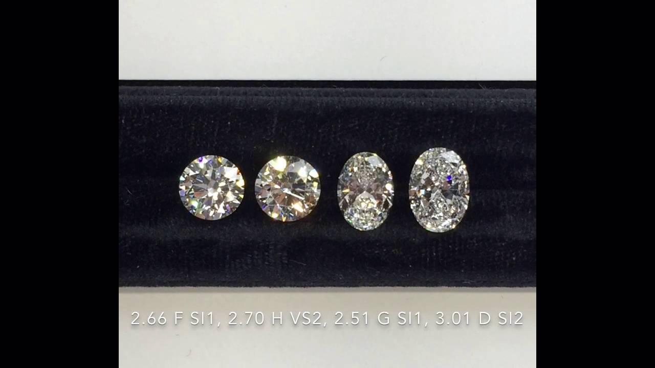 Round Vs Oval Cut Diamonds 2 66 2 70 2 50 3 Carats Youtube