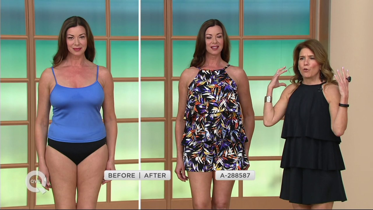 54effc1120 Fit 4 U Hi Neck Double Tiered Romper Swimsuit on QVC - YouTube