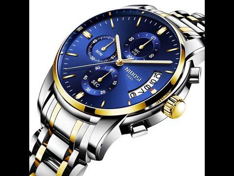Relógio Nibosi 2353 Prata Azul E Dourado