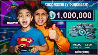 SURPRISING MY 5 YEAR OLD LITTLE BROTHER WITH FORTNITE V-BUCKS! | LITTLE BROTHER GETS 10000 V BUCKS