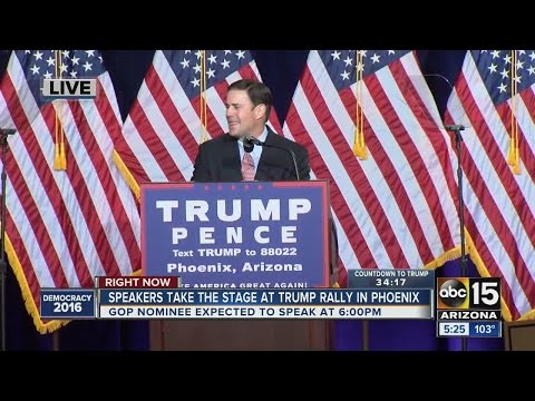 Governor Doug Ducey takes stage at Trump rally in Phoenix