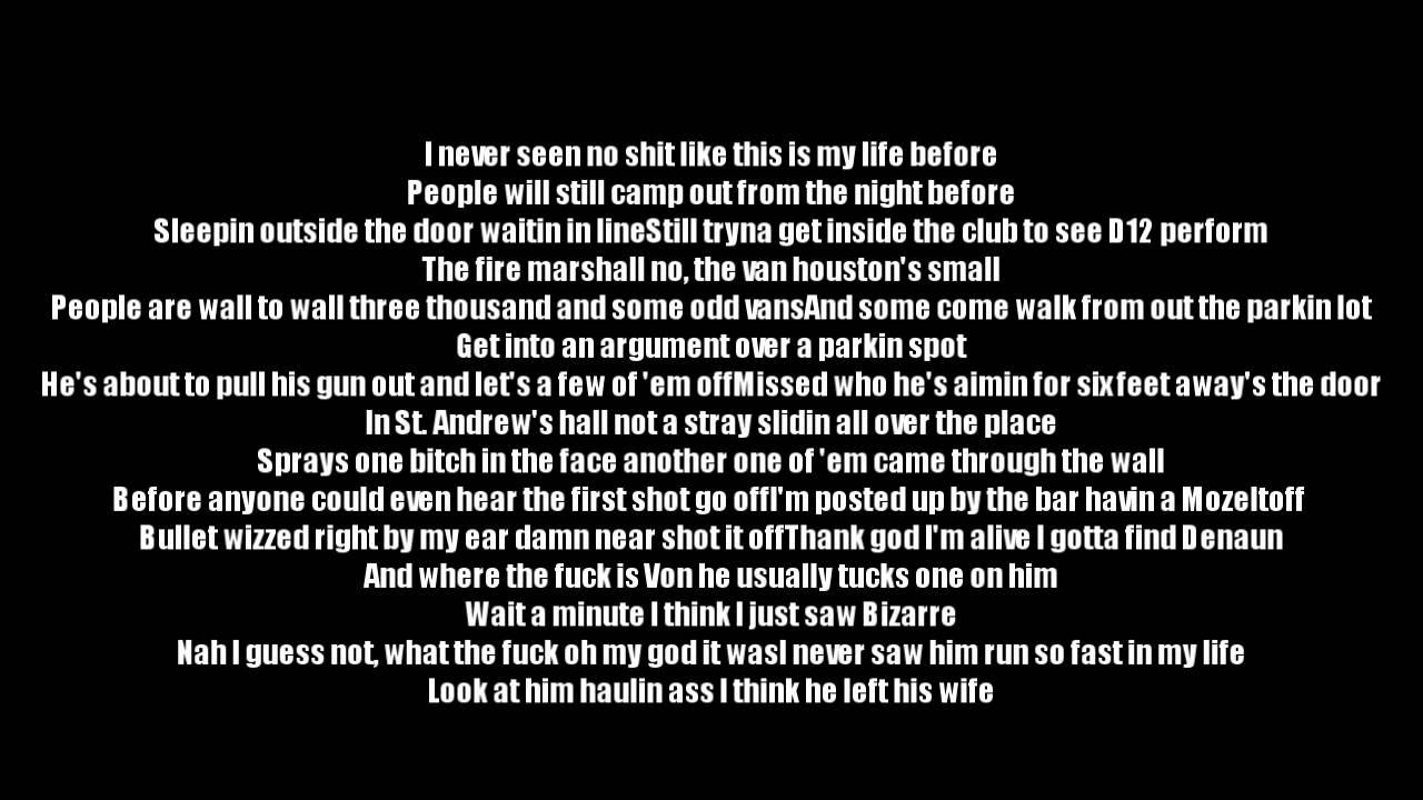 Eminem ft. D12 - One Shot 2 Shot | Lyrics on screen | Full ...