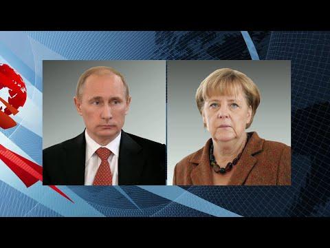 Владимир Путин по телефону поздравил Ангелу Меркель с 65-летием.