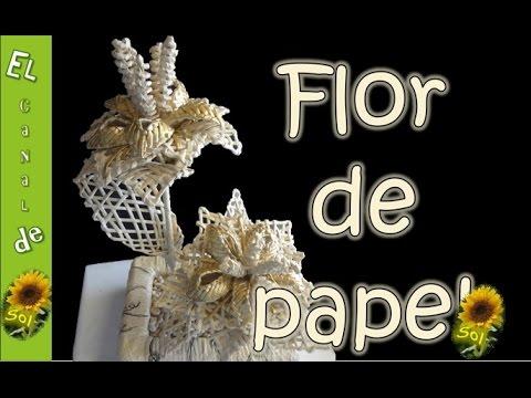 Flor en cester a con papel periodico flower in basketry - Manualidades con periodico ...