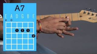 how to play an a7 open chord   guitar lessons