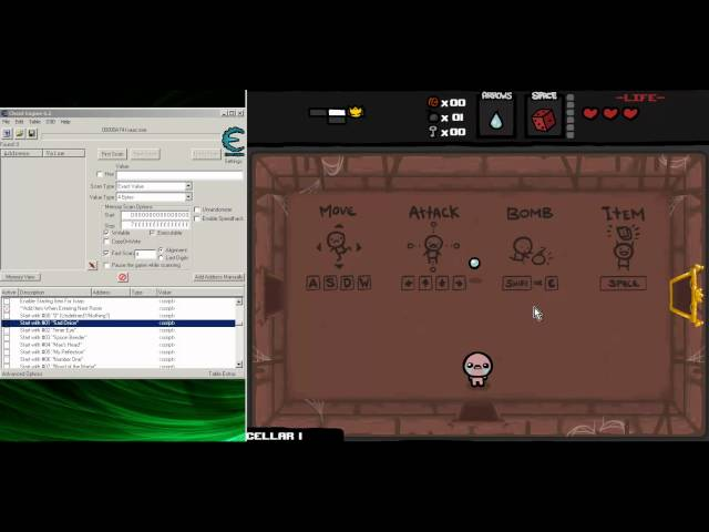 Using Cheat Engine in The Binding of Isaac Wrath of the Lamb v1.48 Travel Video