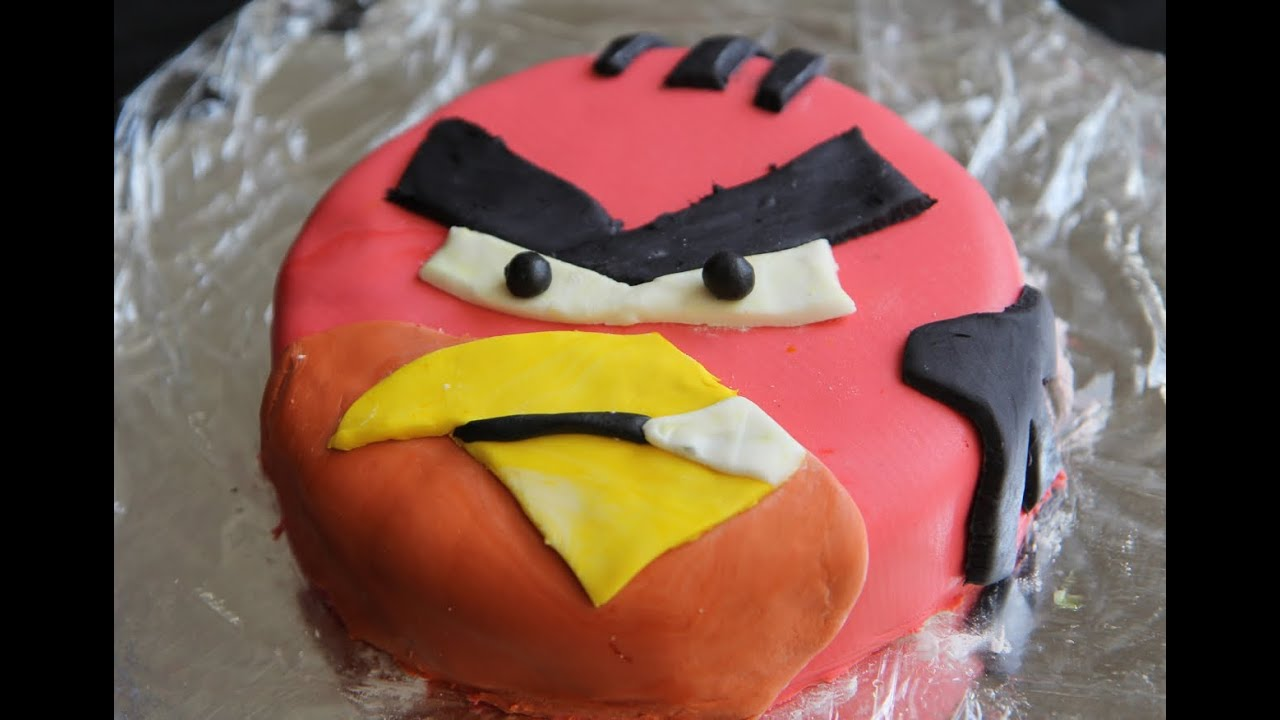 Angry Birds Birthday Cake Red Bird Fondant Cake Vegan Cake