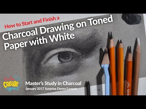 How to Draw with Charcoal, Sofft Knife, on Toned Paper with White - Charcoal Drawing Techniques