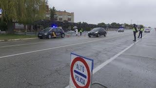 Control policial en Aranda de Duero, confinada por el covid-19