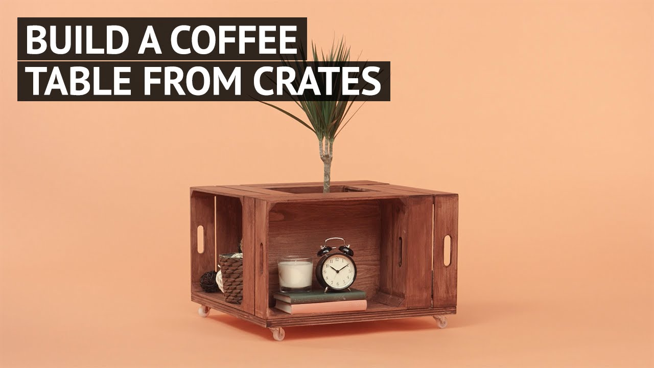 Build a coffee table from crates youtube for How to make a coffee table out of crates
