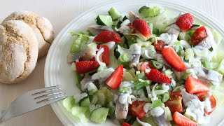 Pickled Herring Salad With Strawberries, Tomatoes, Iceberg Lettuce And Cucumber [recipe Diary]