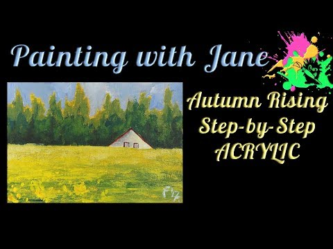 30 Days of Art #6 - Autumn Rising Step by Step Acrylic Painting on Canvas for Beginners