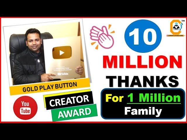 Gold Play Button Award -10 Million Thanks to Everyone || Vikas Sharma  From Current Affairs Funda