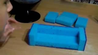 DIY как сделать диван и кресло для кукол из губок легко просто и быстро