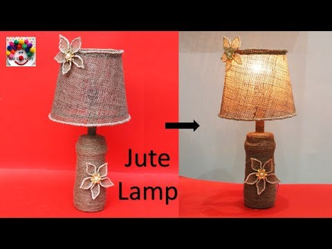 Jute lamp making at home    waste bottle reuse idea    DIY Room decor table lamp