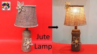 Jute lamp making at home waste bottle reuse idea DIY Room decor table lamp