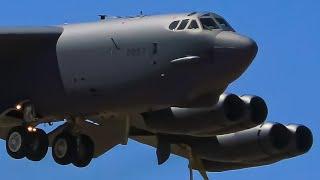 SCREAMING USAF B-52 Landing   2019 Avalon Airshow   Avalon Airport Plane Spotting