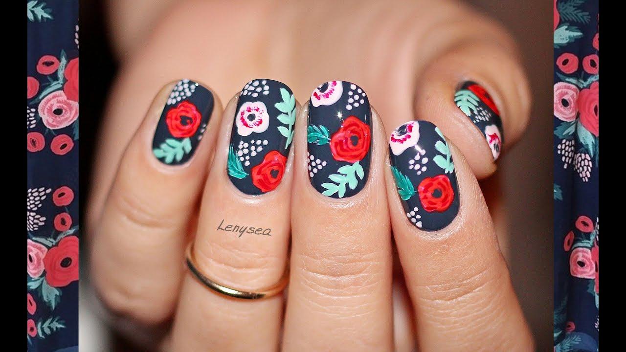 Spanish Rose Nail Art - YouTube