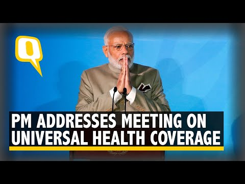 PM Modi Addresses a Gathering on Universal Health Coverage