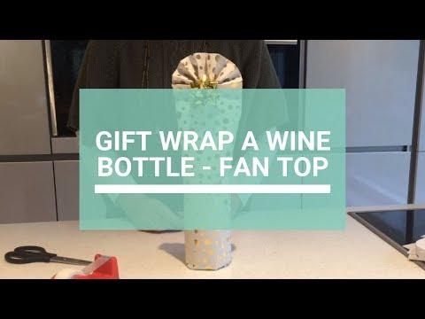 How to gift wrap a wine bottle - fan top