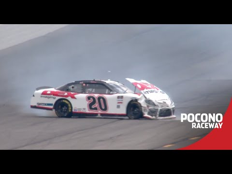 Burton makes big contact with the wall at Pocono | NASCAR Xfinity Series