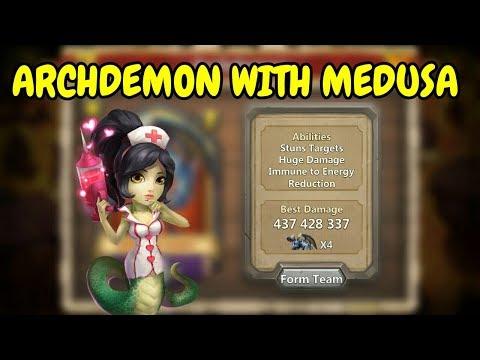 Archdemon With Medusa L Stuns Targets Huge Damage L 8.4B L Castle Clash