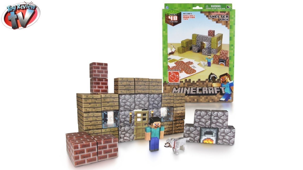 Papercraft Minecraft: Overworld Shelter Pack Papercraft Toy Review, Jazwares