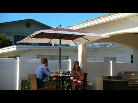 ATLeisure Square Market Crank & Tilt Umbrella with Removable Cover with Gabrielle Kerr