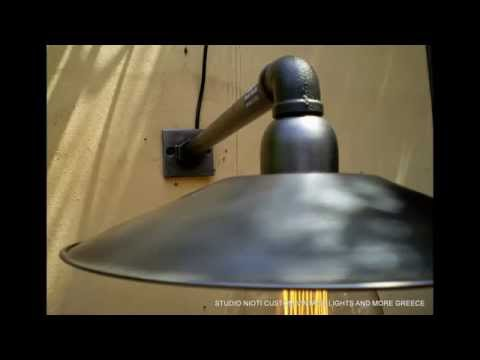 Vintage handmade wall lamps with 1/2 pipe