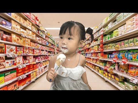 Funny Kids Shopping at the Supermarket and Play Area Indoor Playground for children
