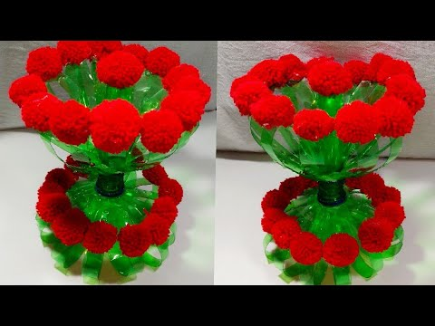 DIY NEW DESIGN WOOLEN GULDASTA/WASTE PLASTIC BOTTLE GULDASTA/NEW CRAFT/PLASTIC /FLOWER POT