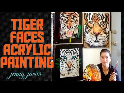 TIGER FACES ACRYLIC PAINTING and funny moment while painting BY:JENNY JAVIER