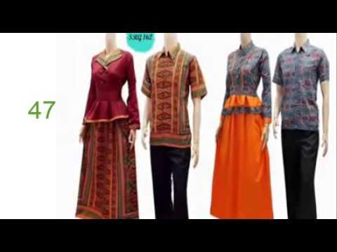 busana muslim batik trendy  model baju batik untuk guru wanita