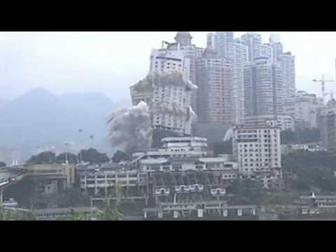 Twin skyscrapers blown up in Chongqing Port, China