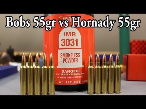 Bobs' vs Hornady 55gr fmjbt - IMR 3031 - YouTube