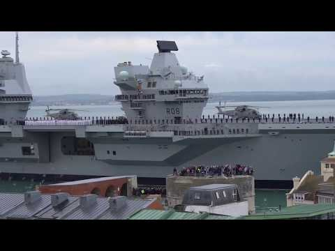 HMS Queen Elizabeth first run  in to Portsmouth