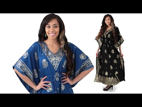 Gold Print Paisley Kaftan - from Africa Imports