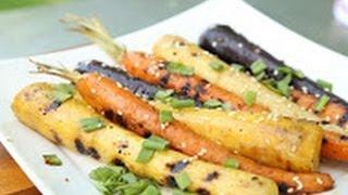 Grilled Carrots With Honey Sesame Ginger Glaze!