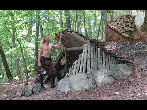 Primitive Bushcraft Shelter - Stone Roofed Lean-To